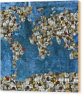 Coins World Map Wood Print