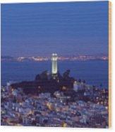 Coit Tower At Dusk San Francisco California Wood Print