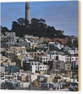 Coit Tower In San Francisco Wood Print