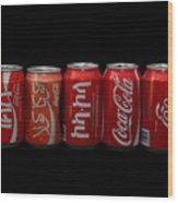 Coke Cans Wood Print