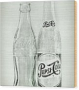 Coke Or Pepsi Black And White Wood Print