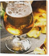 Cold Beer And Delicious Snacks Wood Print