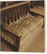 Cold Bench In The Snow Wood Print