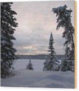 Cold Dawn On Boot Lake Wood Print