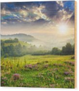 Cold Fog In Mountains On Forest At Sunset Wood Print
