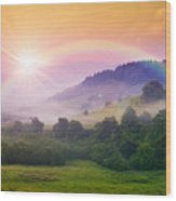 Cold Fog On Hot Sunrise In Mountains Wood Print