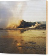 Cold Morning Sunrise At Grand Prismatic Spring Wood Print