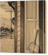 Cold Point Village Station - Banjo Mandolin In Sepia Wood Print