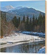 Cold River Bend Wood Print