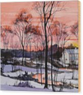 Cold Sunset Wood Print
