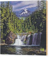 Cold Water Falls Wood Print