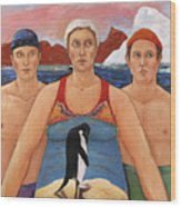 Cold Water Swimmers Wood Print by Paula Wittner