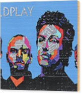 Coldplay Band Portrait Recycled License Plates Art On Blue Wood Wood Print