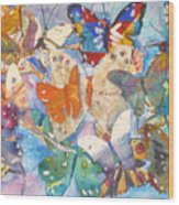 Collage Of Butterflies Wood Print