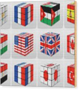 Collage Of Flags Of Different Nation  Wood Print