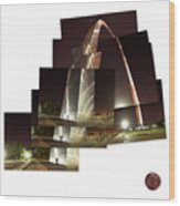 Collage Of Gateway Arch At Night Wood Print