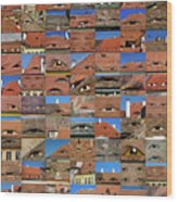 Collage Roof And Windows - The City S Eyes Wood Print