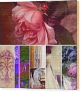 Collage So Rosey Wood Print