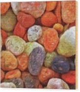 Collecting Pebbles Wood Print