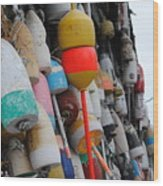 Collection Of  Buoys In Bar Harbor Maine Wood Print