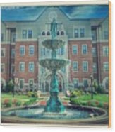 College Fountain Wood Print