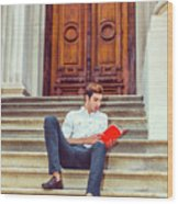 College Student Reading Red Book, Sitting On Stairs, Relaxing Ou Wood Print