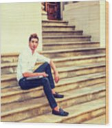 College Student Sitting On Stairs, Relaxing Outside Wood Print