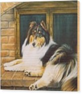 Collie On The Hearth Wood Print