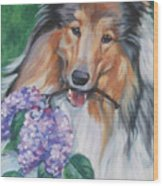 Collie With Lilacs Wood Print by Lee Ann Shepard
