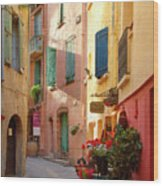 Collioure Alley Wood Print