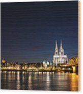 Cologne At Night Wood Print by Alexandra-Emily Kokova