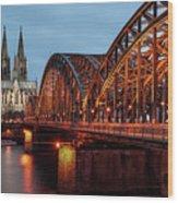 Cologne Cathedral At Dusk Wood Print
