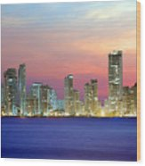 Colombia. Cartagena. The City At Night. Wood Print