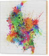Colombia Paint Splashes Map Wood Print