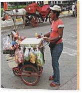 Colombia Srteet Cart Wood Print
