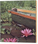 Colombian Boat And Flowers Wood Print
