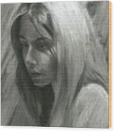 Portrait Of Woman In Charcoal Wood Print
