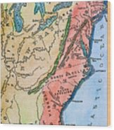 Colonial America Map Wood Print