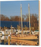 Colonial Beach Docks Wood Print
