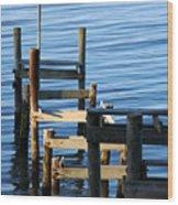 Colonial Beach Pilings Wood Print