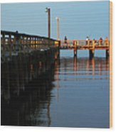 Colonial Beach Town Pier Wood Print