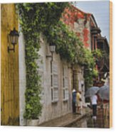 Colonial Buildings In Old Cartagena Colombia Wood Print