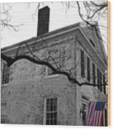 Colonial House With Flag Wood Print