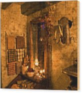 Colonial Kitchen Evening Wood Print