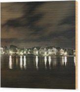 Colonial Lake At Night Wood Print