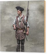 Colonial Militia Soldier 1777 Wood Print