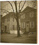 Colonial Shops - Bw Wood Print