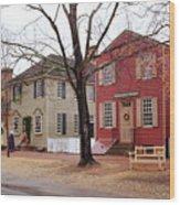 Colonial Shops Wood Print