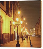Colonial Street In Central Lima At Night Wood Print