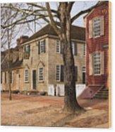 Colonial Street Scene Wood Print